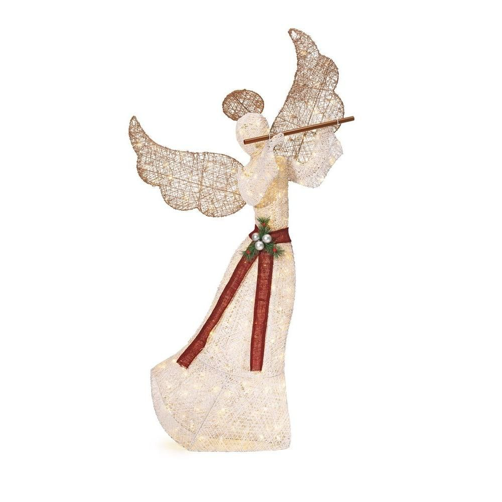Home Accents Holiday 71.5 in. LED Lighted Angel with Flute ...