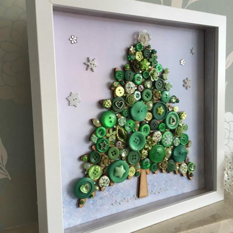 The Christmas Tree Button Art Christmas Decor Button Tree Etsy In 2020 Unique Christmas Trees Christmas Tree Crafts Button Art