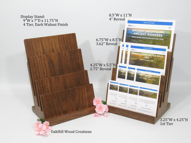 Brochure Holder Business Card Stand Display Stand 4 Tier Etsy In 2020 Business Card Stand Brochure Holders Wood Display Stand