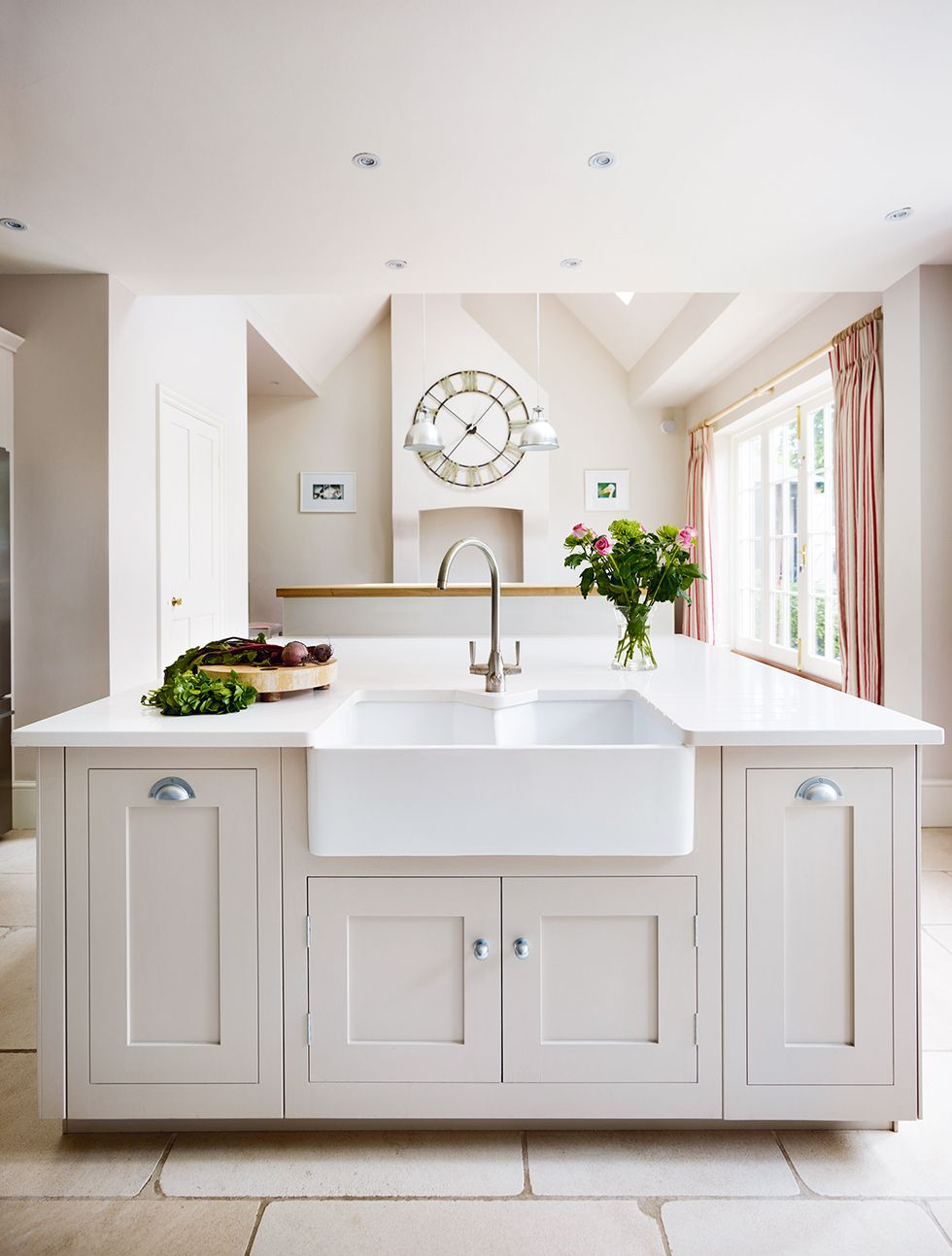Harvey Jones Shaker kitchen with white cabinets and large island ...