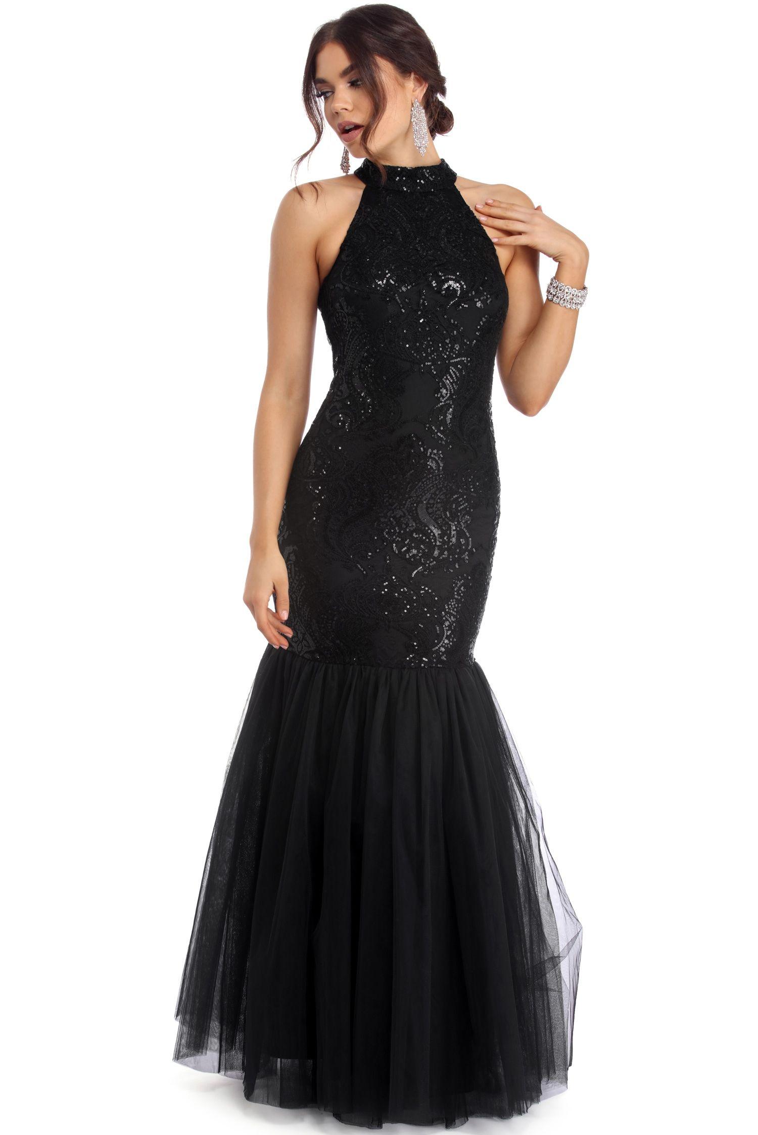 Amorose black sequin mermaid dress womens prom dresses