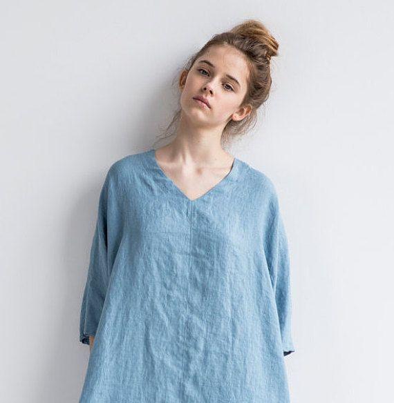 100 /% Linen summer dress Soft linen clothing linen blouse tunic top linen shirt Washed linen top Linen Top Womens Clothing