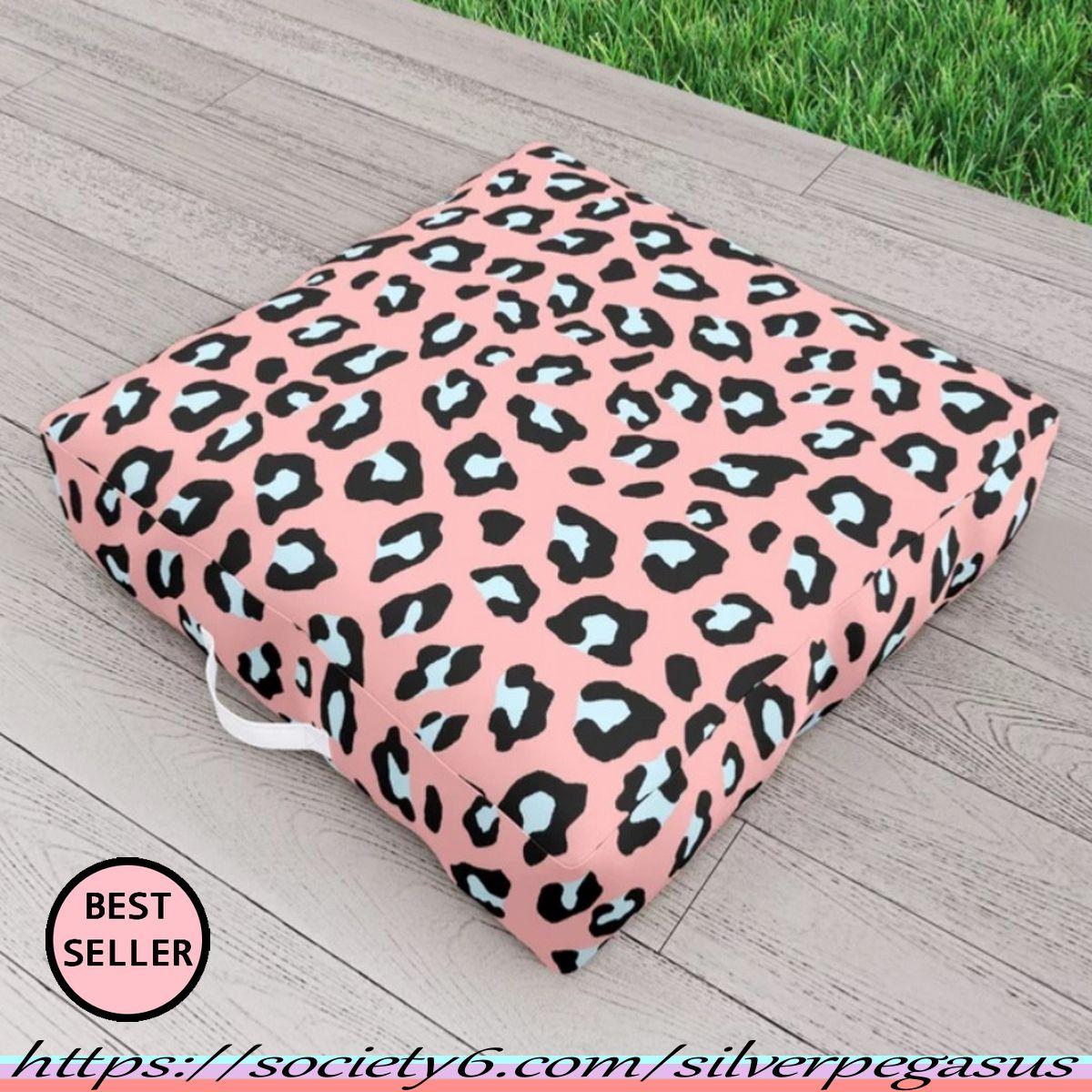 society6.com/silverpegasus , Leopard Print – Icy Peach Outdoor Floor Cushion by SilverPegasus Garden
