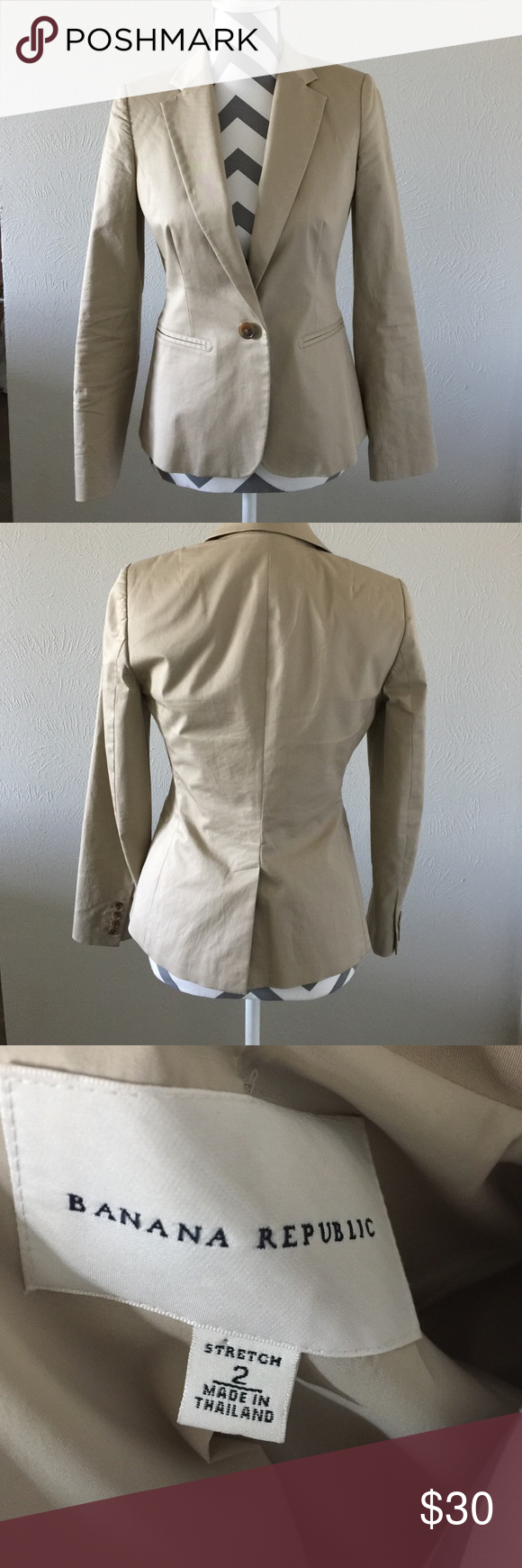 Banana Republic Blazer Banana Republic tan Blazer, it is lined and no visible signs of wear. 93% cotton 7% spandex, the lining is 95% polyester and 5% spandex Banana Republic Jackets & Coats Blazers