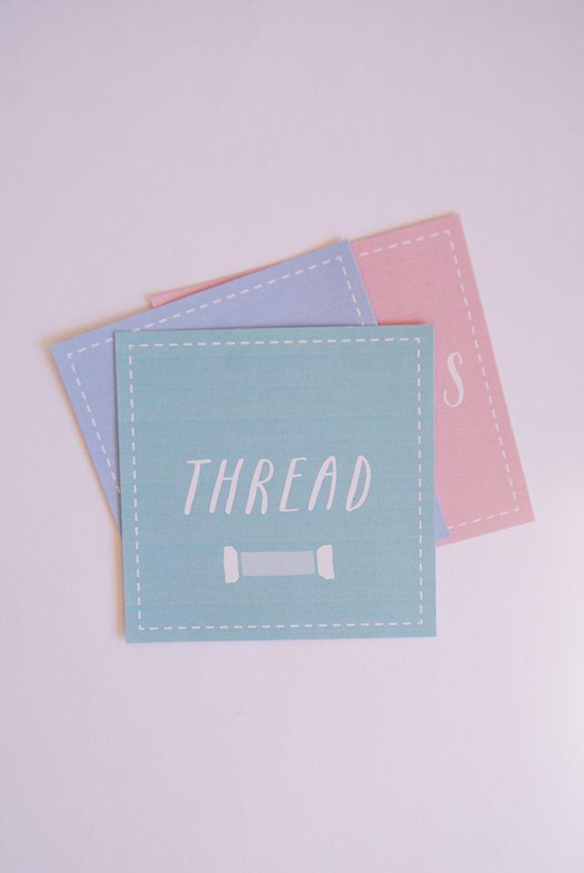 Etiquetas para imprimir (em inglês) Free Printable Sewing Room Organization Labels