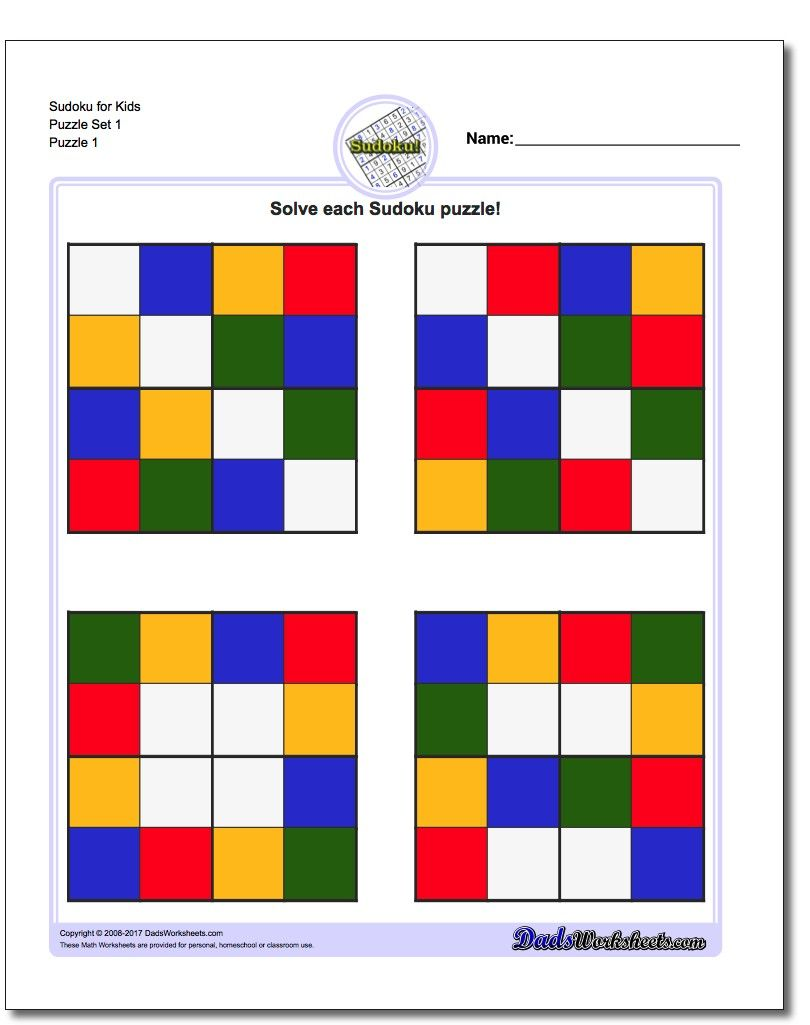 Color Sudoku for Kids | Math Worksheets | Pinterest