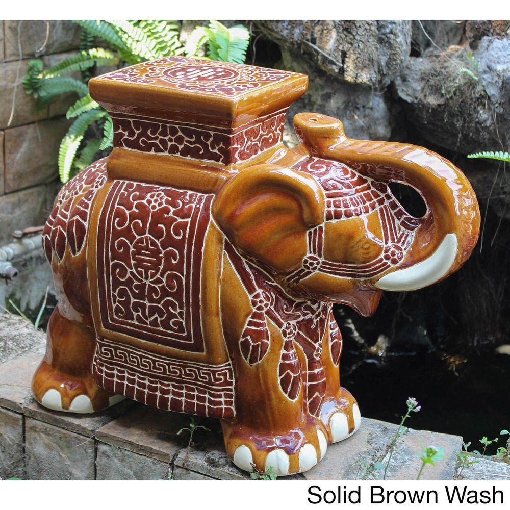 Large Brown Elephant Garden Stool Porcelain Garden Decor   Stools ...