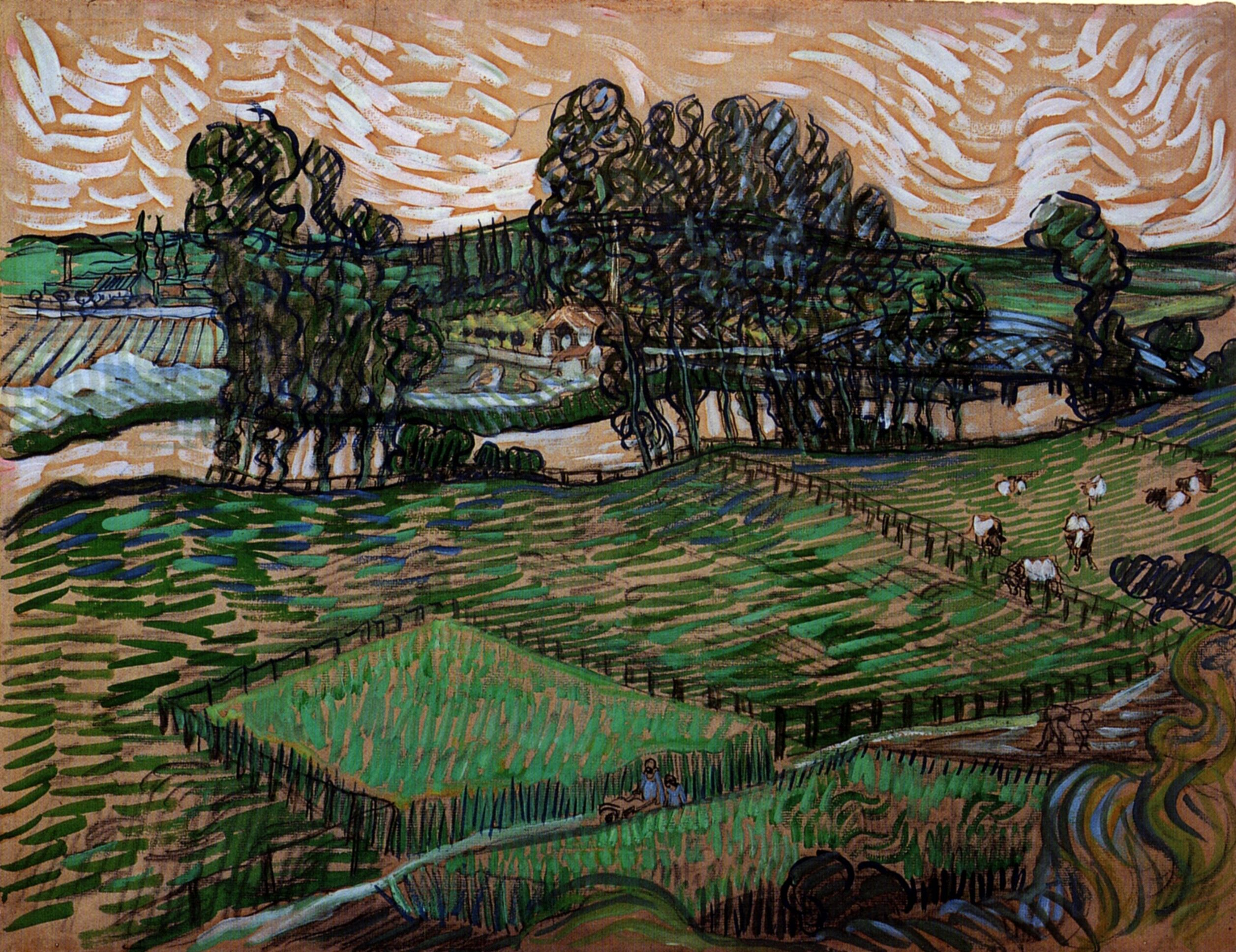 Landscape With Bridge Across The Oise Vincent Van Gogh Van