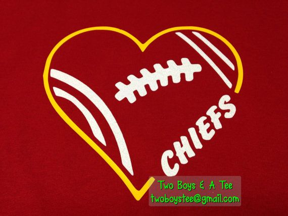 Items similar to Heart Kansas City Chiefs Colts any team Football Fan T-Shirt Personalized for you S M L XL 2X football team Basic or Ladies Gildan Tee on Etsy