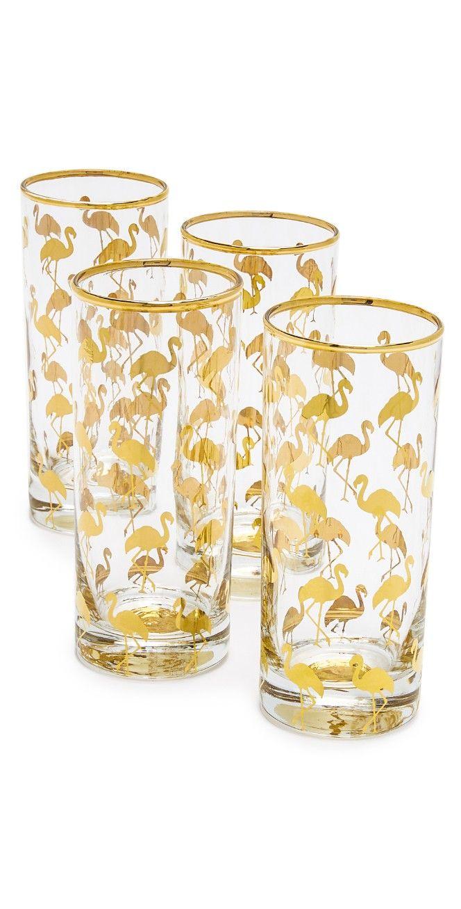 Gift Boutique Set Of 4 Flamingo Highball Glasses Gift Boutique Boutique Set Flamingo [ 1307 x 664 Pixel ]