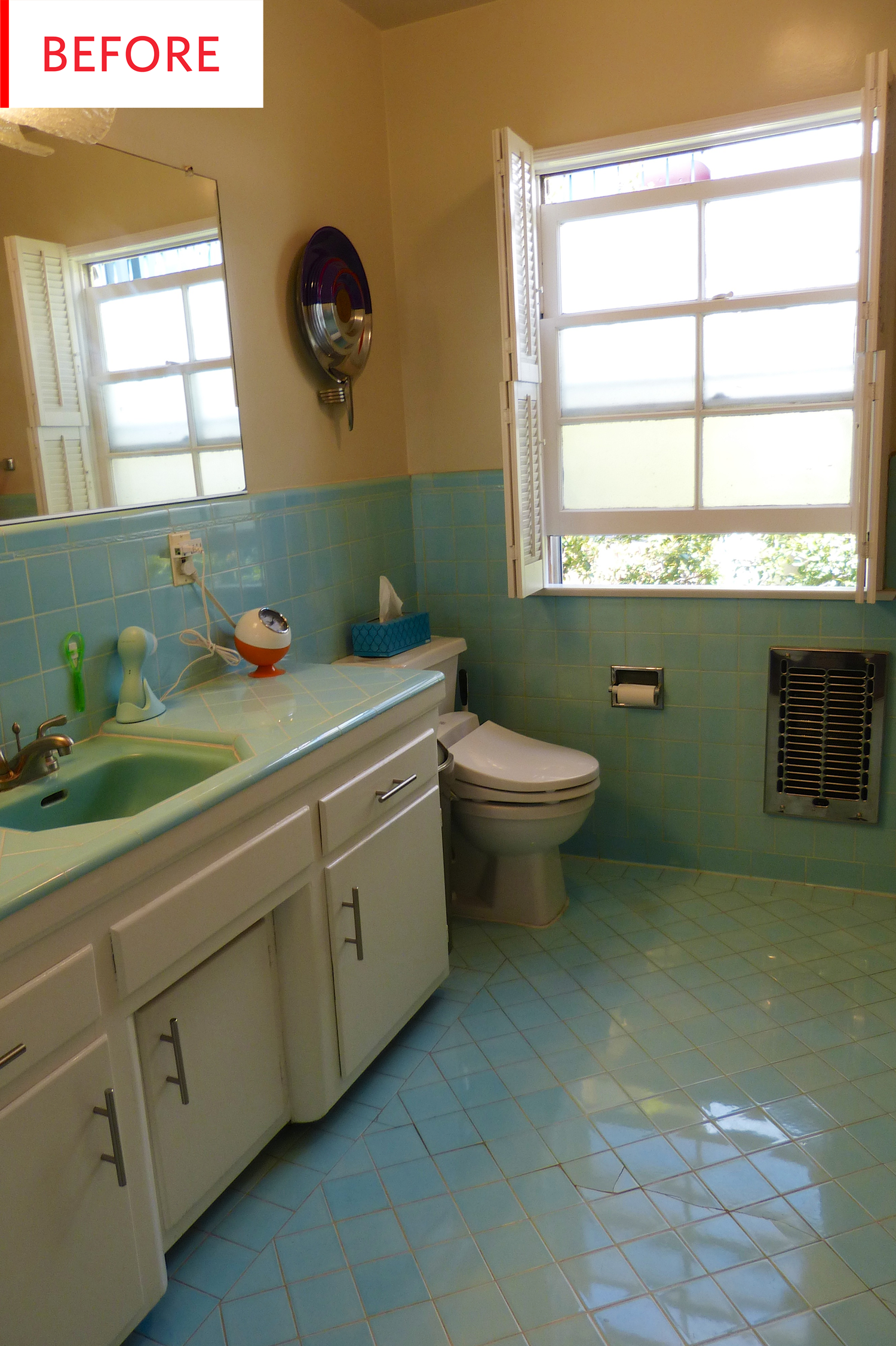 Before And After This Bathroom Keeps Its Original Beautiful Tiles Blue Bathroom Tile Yellow Bathroom Tiles Yellow Bathrooms