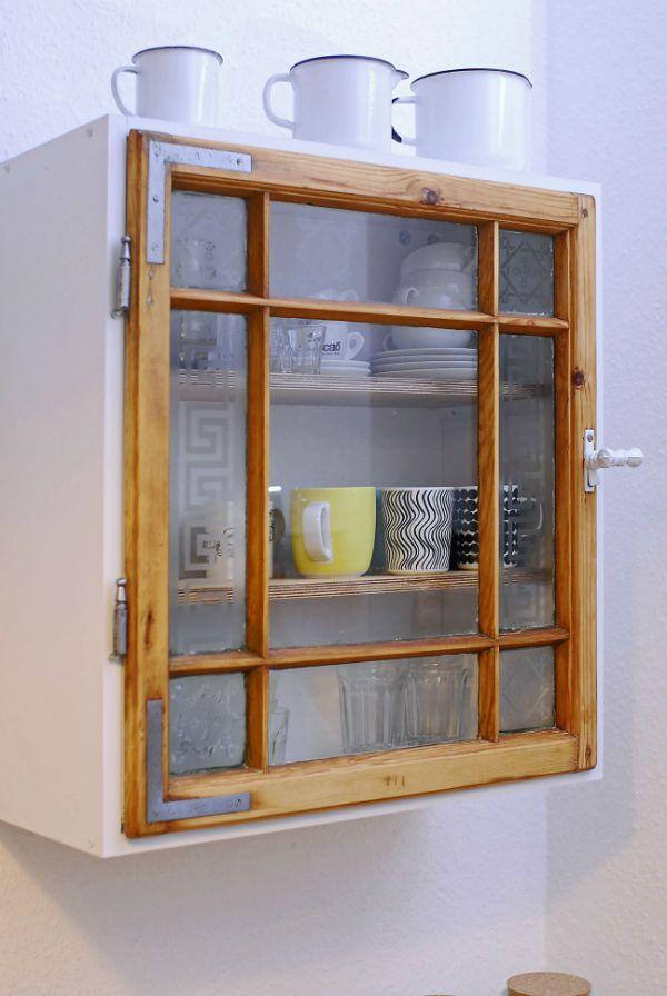 Kuechenschrank Aus Einem Alten Fenster Upcycling Cupboard Made Of An