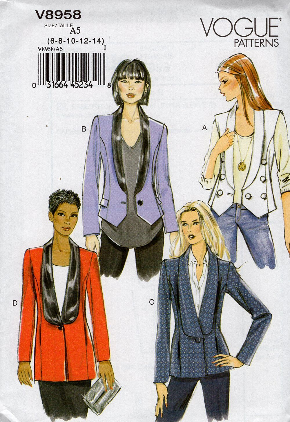06d2050aabc Vogue 8958 Free Us Ship Sewing Pattern Tuxedo Jacket waistcoat Size 6 8 10  12 14 Bust 30.5 31.5 32.5 34 36 Sewing Pattern New Uncut by LanetzLiving on  Etsy