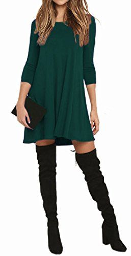 5db056b5daa1 VIISHOW Womens Round Neck 3/4 Sleeves A-line Casual Tshirt Dress with Pocket