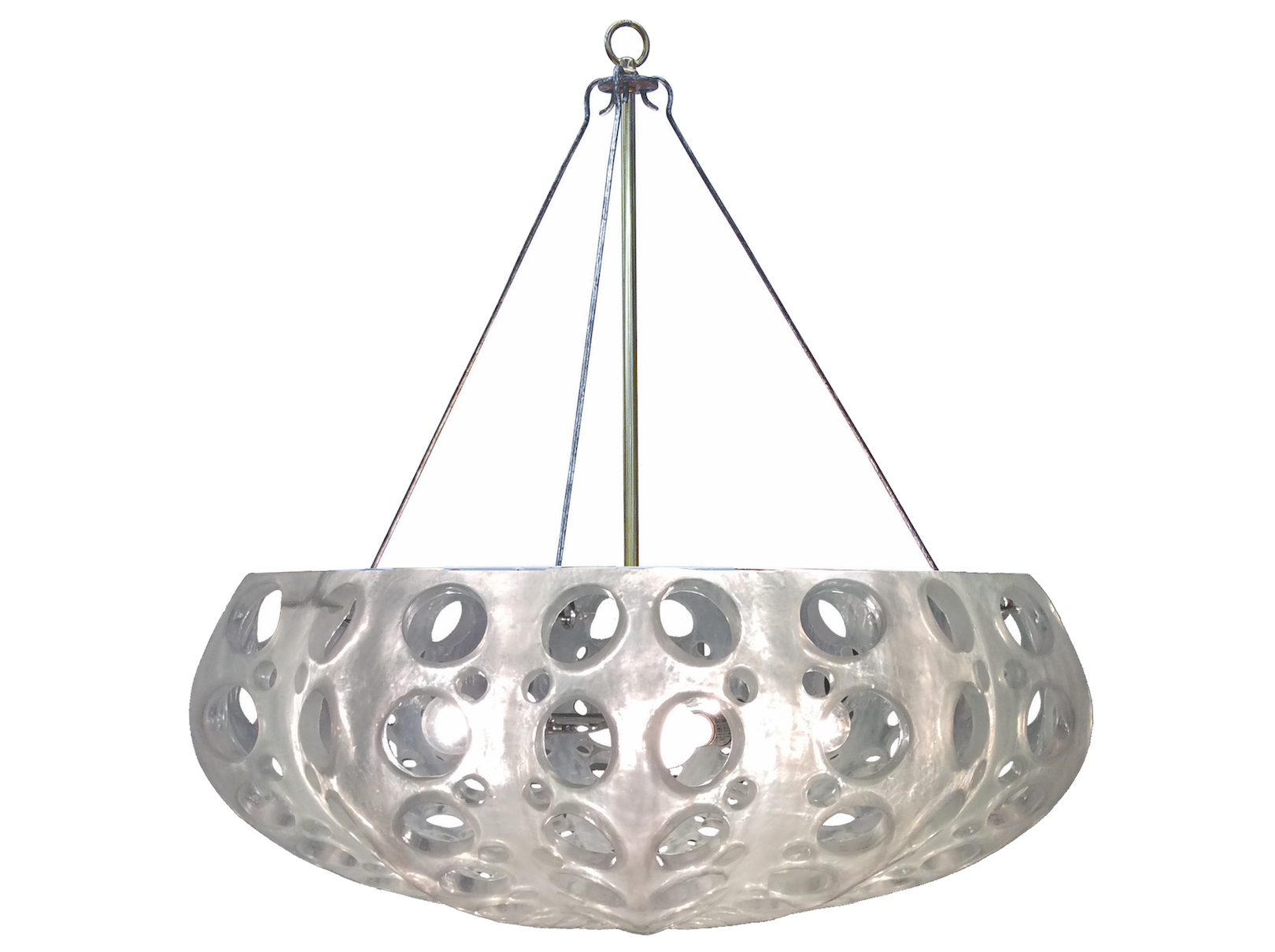 Luna Bowl Chandelier Cast Pierced Resin Includes Canopy & 3