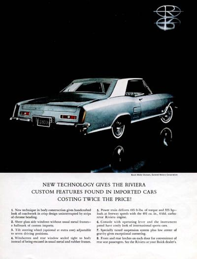 1963 Buick Riviera Original Vintage Adver New Technology Gives The Custom Features Found In Imported Cars Costing Twice Price