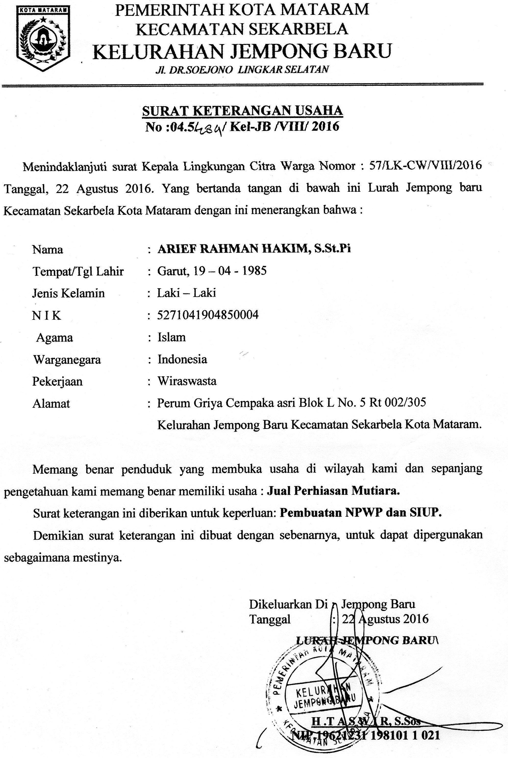 Surat Keterangan Usaha Toko Original Mutiara About