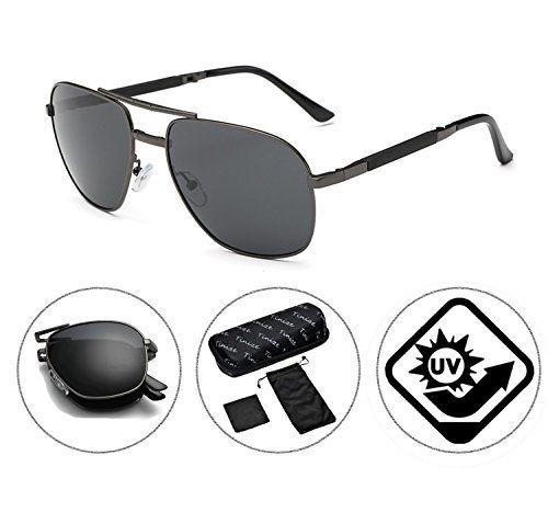 e14ac04fcca Zando Unisex Classic Fashion Polarized Folding Compact Aviator Sunglasses  Foldable Eyewear Silver-Black Frame Grey
