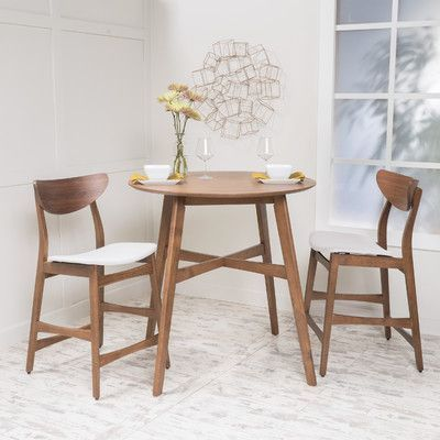 Gavin Wood Counter Height Round Dining Set By Christopher Knight Home (Light  Beige With Natural Walnut Finish), Size Sets