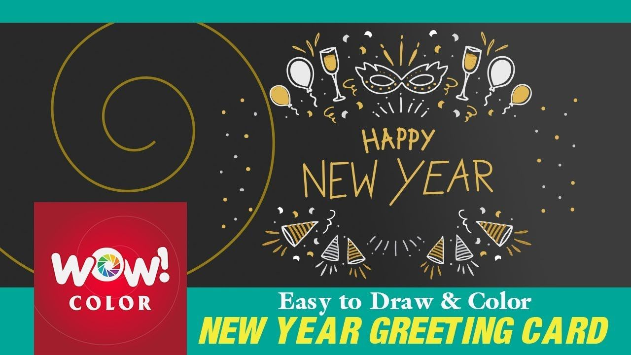 How To Draw 2018 New Year Greeting In Blackboard Designs Simple