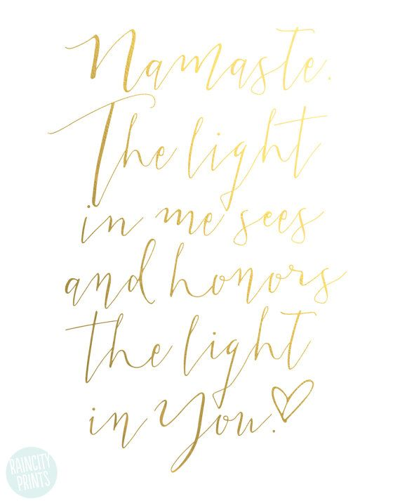 Namaste Yoga Art Print. the Light in Me Sees and Honors Light   Etsy