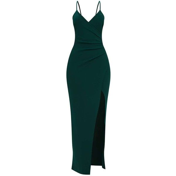 Emerald Green Wrap Front Crepe Maxi Dress 43 Liked On Polyvore Featuring Dresses Green Maxi Dress Maxi Maxi Dress Green Wrap Front Dress Featuring Dress