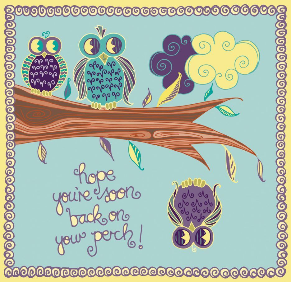 Vintage Owls Get Well Soon Card Paint Color Design Card Get Well Soon Card Designs Cards Seas Get Well Cards Personalized Greeting Cards Greeting Card Template