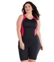 d4489176de AquaCurve Plus Size Color Block Aquatard by JunoActive. Shop high  performance plus size swimwear