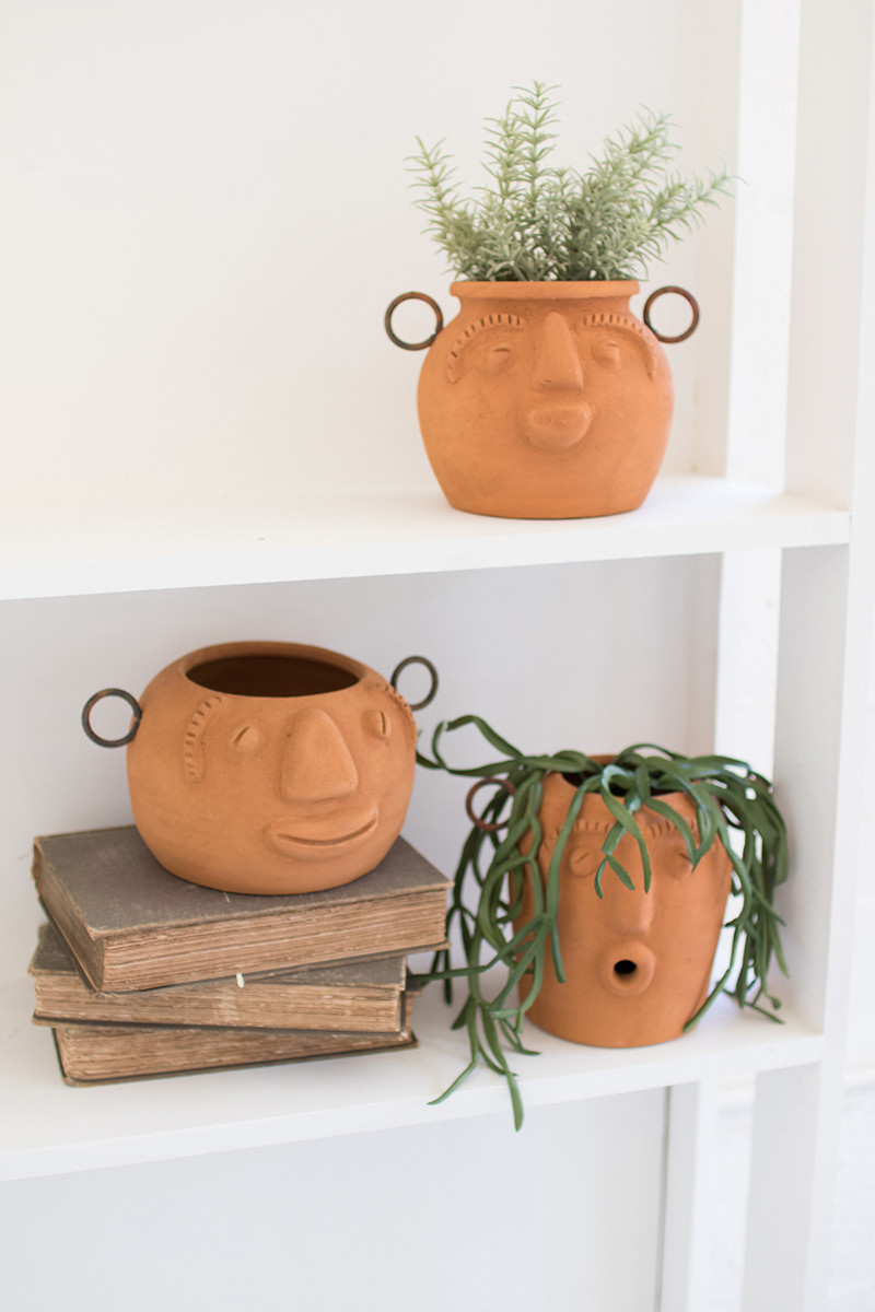 Set of 3 funky face clay planters is part of Clay planters, Clay plant pots, Face planters, Planters, Pottery planters, Flower pots - Back Details How can you resist these funky faces  With a unique expression on each planter, you'll never get tired of looking at these groovy guys  largest 5 5  x 10  x 5 t