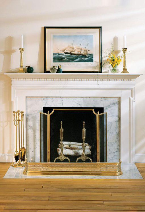 White Fireplace Mantel With Fireplace Accessories Solid Cast Brass Tools Fireplace Screen And Cast Brass R Fireplace Brass Fireplace Screen Fireplace Screens