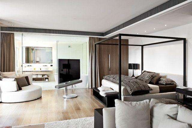 Fernseher Schlafzimmer ~ Einzimmerwohnung freistehende fernseher halterung tv