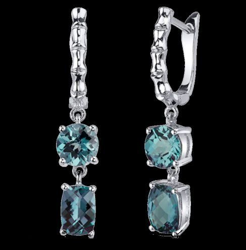 Alexandrite Oval Round Cut Checkerboard Leverback Sterling Silver Earrings