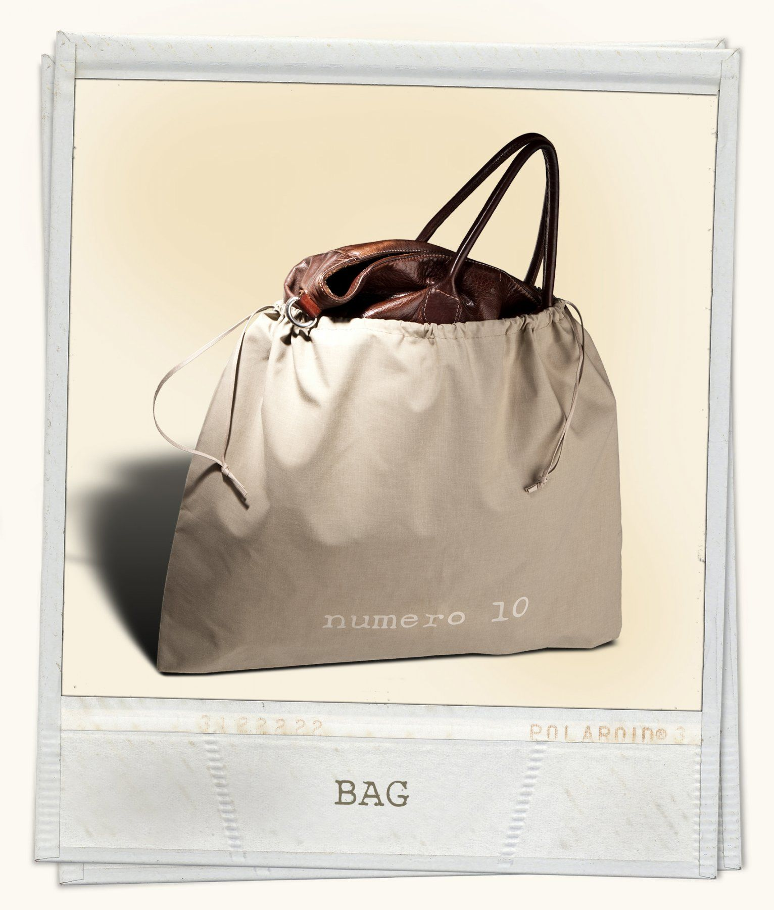 Polycotton dustbag with 2 sliding waxed cotton ribbons