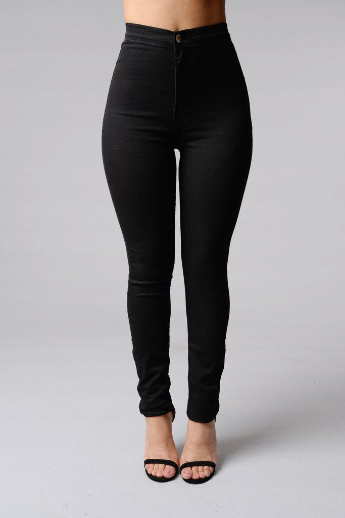 High rise jeans with spandex
