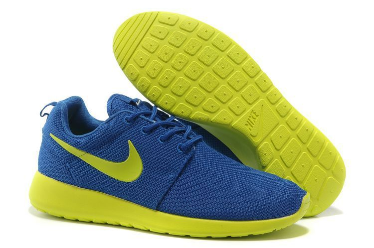 50% off newest collection buying now Baskets Nike Roshe Run Femme Bleu Foncé Jaune Citron Mesh RL118 ...
