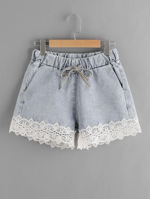 Kontrast-Jeansshorts mit Spitzensaum und Tunnelzug | SHEIN  - Kleidung nähen - #Kleidung #KontrastJeansshorts #mit #Nähen #SheIn #Spitzensaum #Tunnelzug #und #shortslace