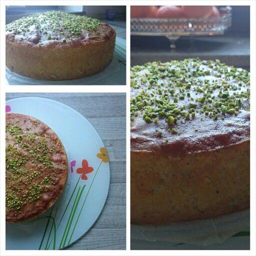 Persian sponge cake with saffron, cardamom, almonds, pistachio, and rosewater