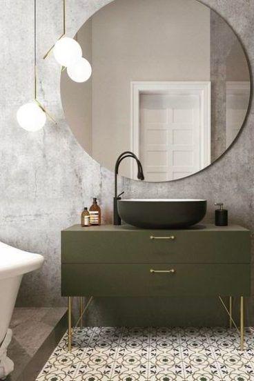 Photo of Badezimmerfarben Olive Schubladenbecken unter dem Waschbecken. #Badezimmerspiege…