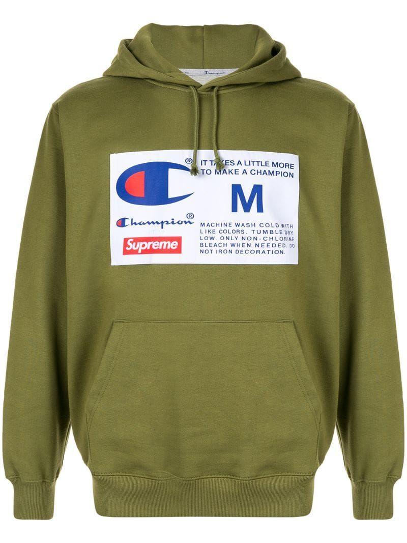 Supreme X Champion Label Hoodie In Green Modesens Hooded Sweatshirts Supreme Clothing Hoodies [ 1067 x 800 Pixel ]