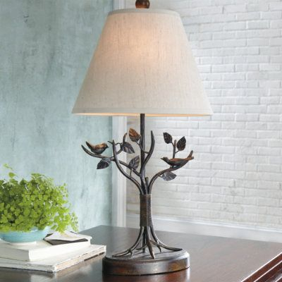 Aviary table lamp 99 floor lamp 169 lighting and lamps aviary table lamp birds and base are crafted from durable polyresin linen shade uses a bulb not included cord mozeypictures Choice Image