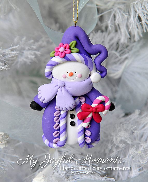 handcrafted polymer clay snowman ornament by myjoyfulmoments fimo gl ser schneemann fimo. Black Bedroom Furniture Sets. Home Design Ideas
