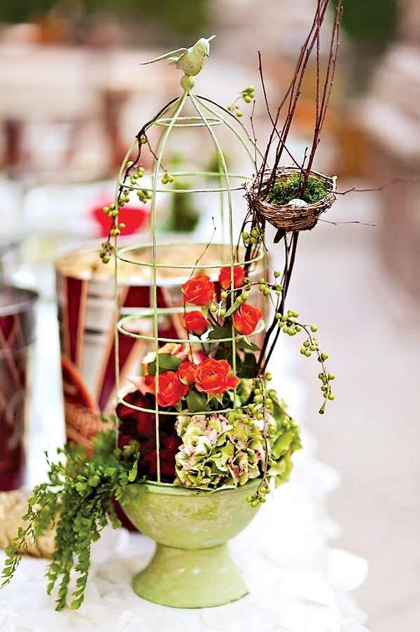Romantic Beautiful Bird Themed Wedding Birdcage Centerpieces