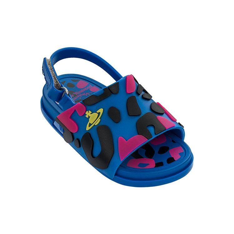 cute cheap how to buy discount Mini Melissa Vivienne Westwood Mini Beach Slide Sandal Blue/Pink ...
