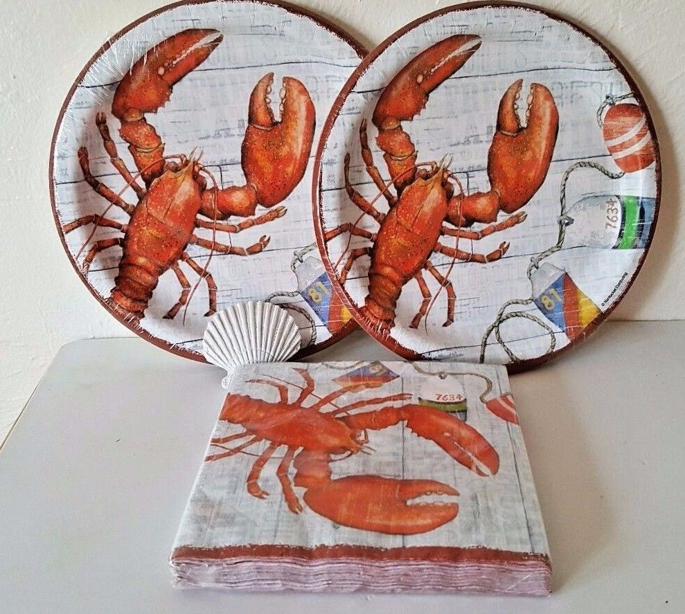 Lobster Dinner Party for 20 Paper Plates Napkins Bibs Seafood Clambake Beach & Lobster Dinner Party for 20 Paper Plates Napkins Bibs Seafood ...