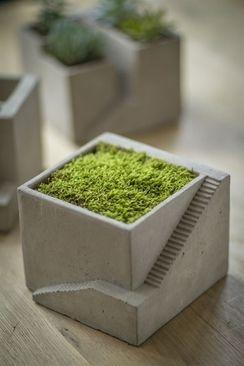 Cement Architectural Plant Cube Planter I