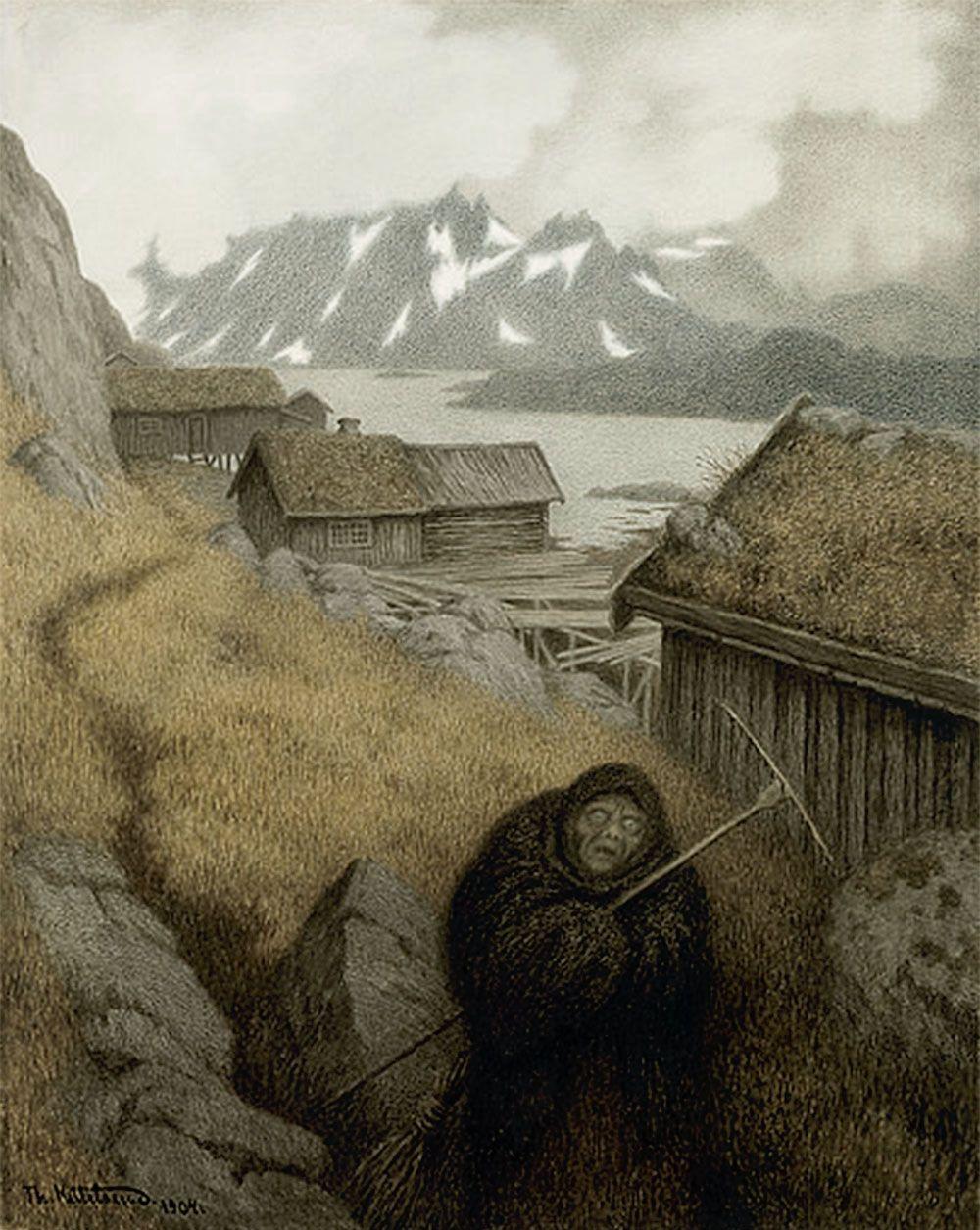 Pesta Farer Landet Rundt, Theodor Kittelsen (1857 - 1914) | Art ...