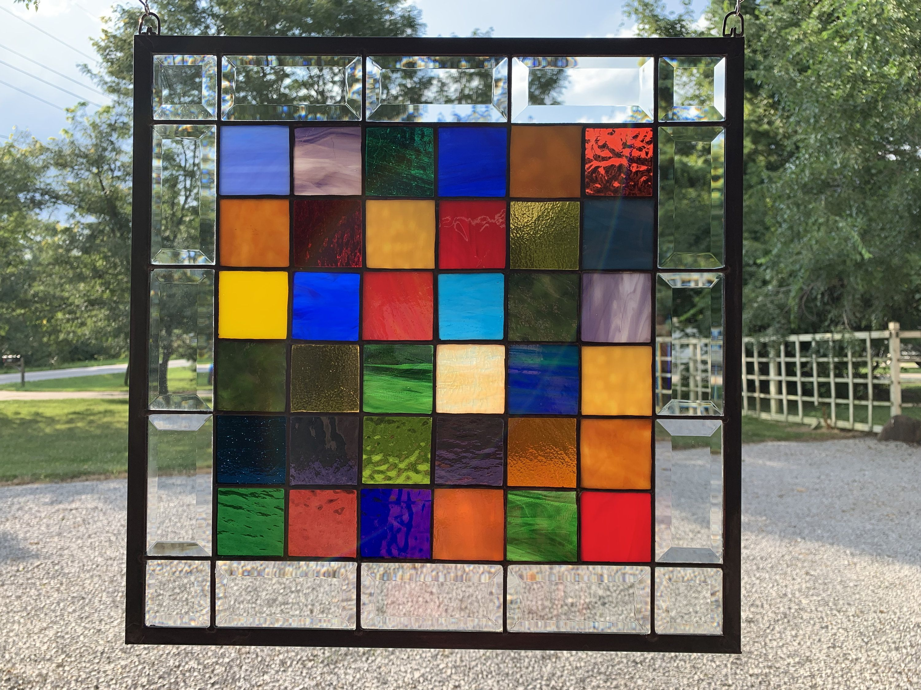Stained Glass Panel Window Hanging 17 X 17 Church Window Quilt Pattern Geometric Squares Amish Stained Glass Panel Stained Glass Supplies Stained Glass