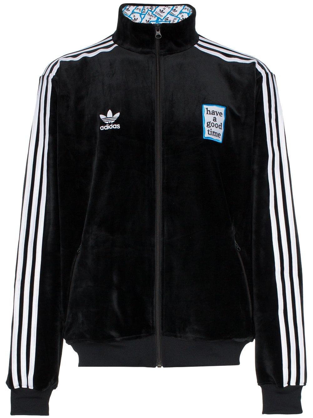 Adidas x Have A Good Time Men Velour Track Top Jacket (black)