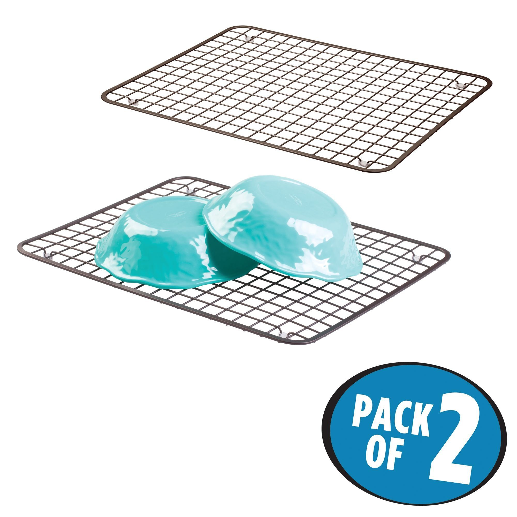 mDesign Kitchen Sink Protector Dish Grid - Pack of 2, Bronze ...