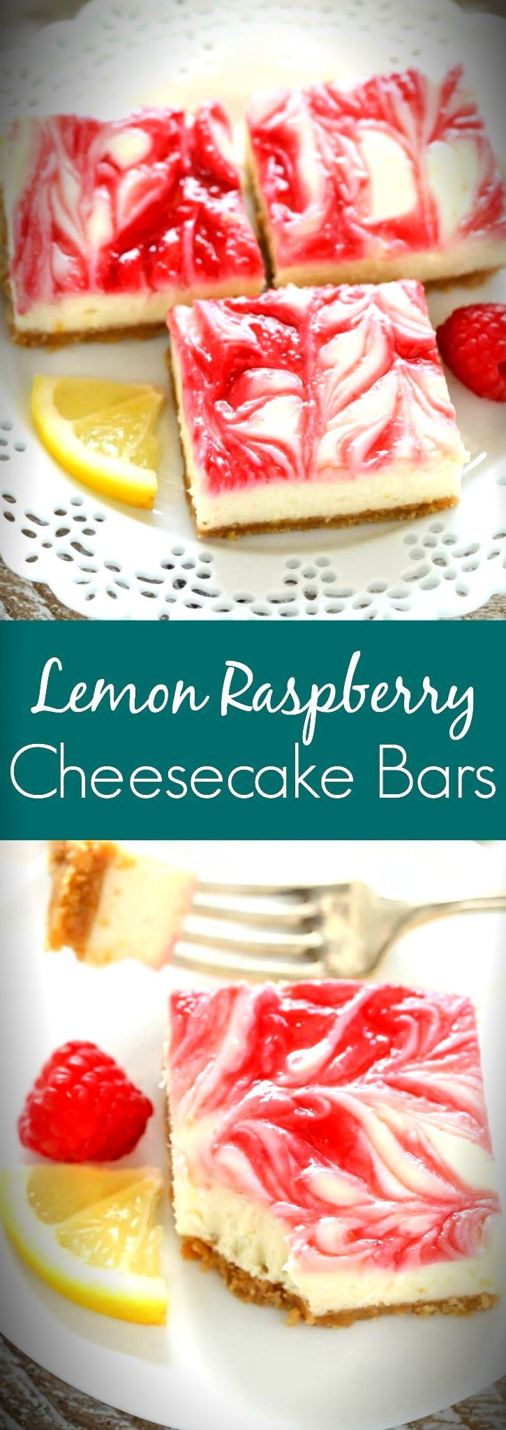 These Lemon Raspberry Cheesecake Bars feature a creamy lemon cheesecake filling with a raspberry swirl topped on a homemade graham cracker crust. #homemadegrahamcrackercrust